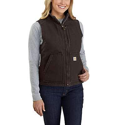 Carhartt Women's Dark Brown Relaxed Fit Washed Duck Sherpa Lined Mock Neck Vest