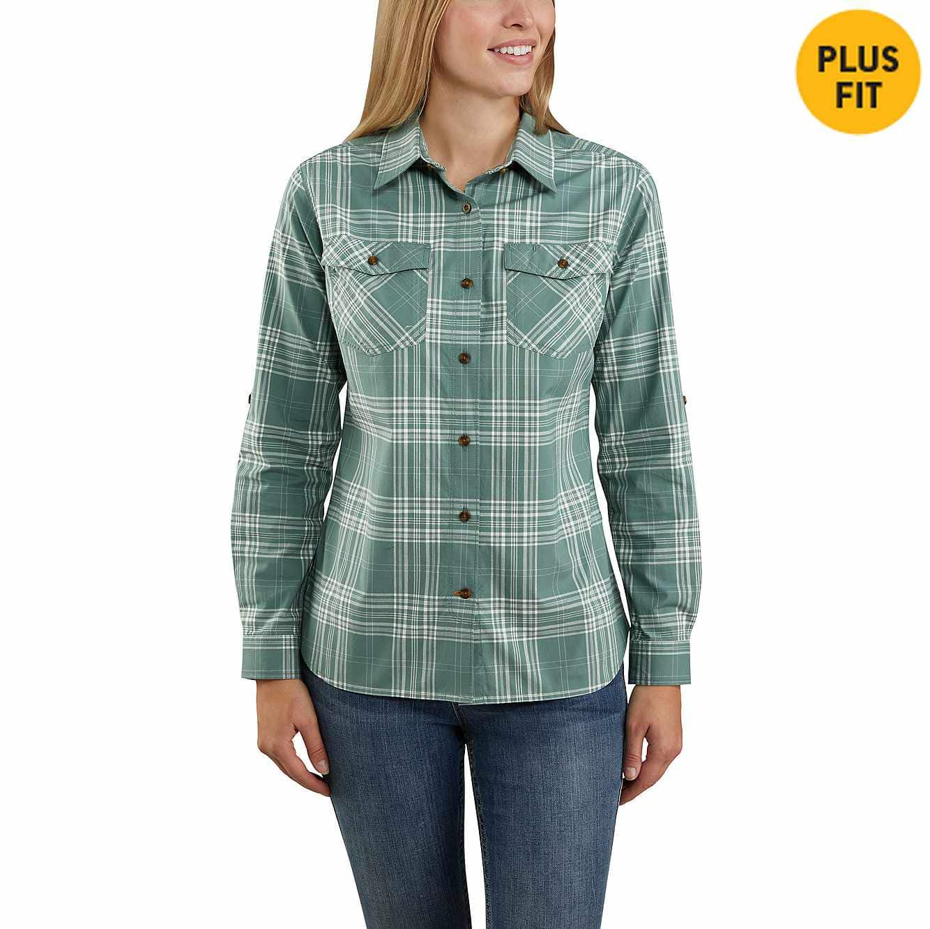 Picture of Rugged Flex® Slightly Fitted Long-Sleeve Plaid Shirt in Musk Green