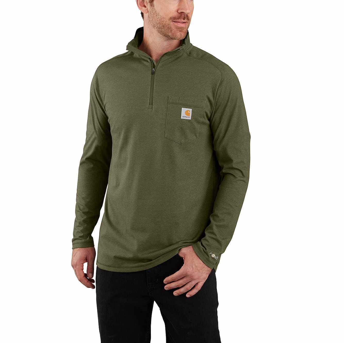 Picture of Carhartt Force® Relaxed Fit Long-Sleeve Quarter-Zip Pocket T-Shirt in Moss Heather