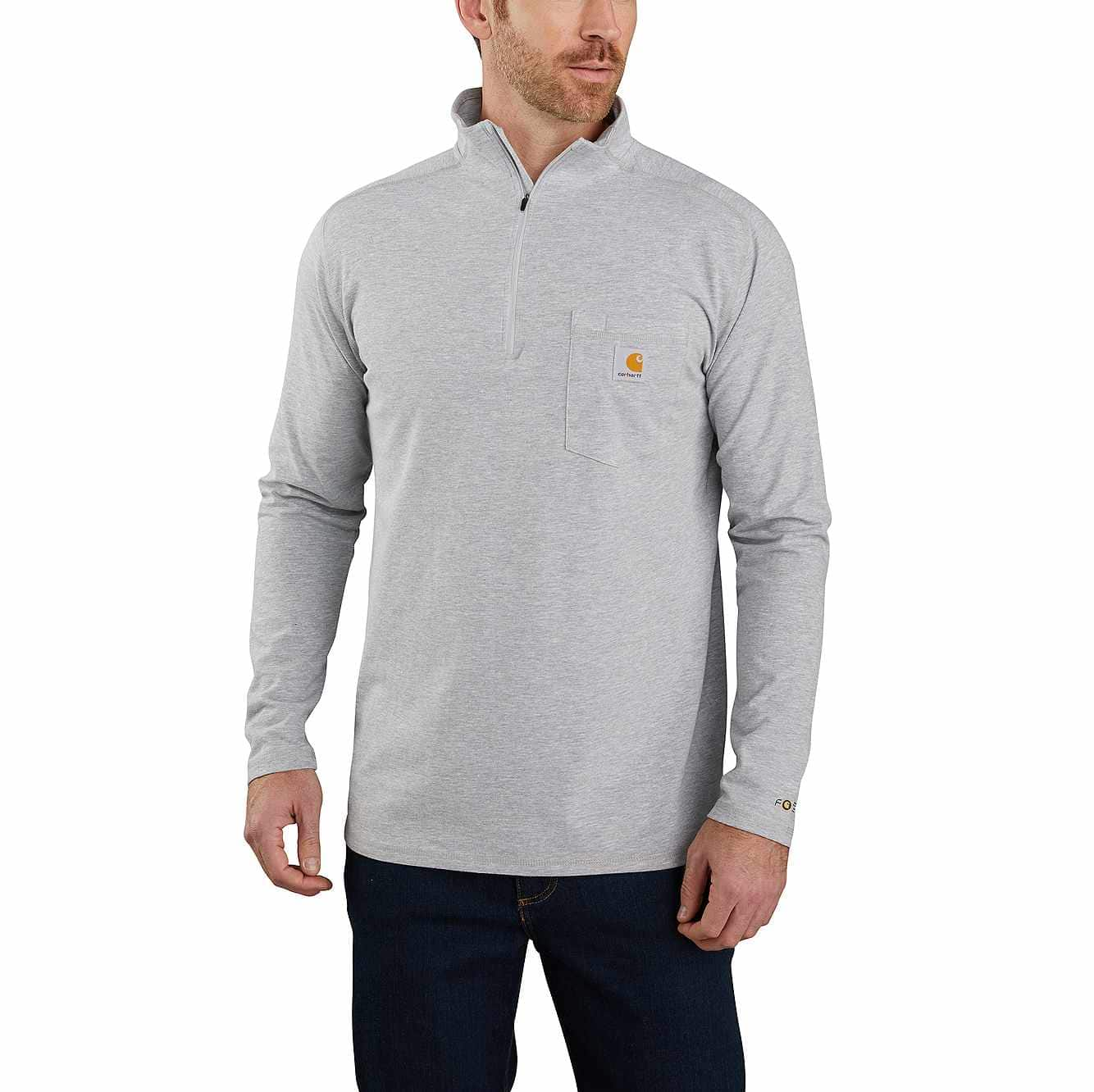 Picture of Carhartt Force® Relaxed Fit Long-Sleeve Quarter-Zip Pocket T-Shirt in Heather Gray