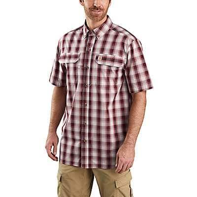 Carhartt Men's Dark Barn Red Force Relaxed Fit Lightweight Short Sleeve Shirt