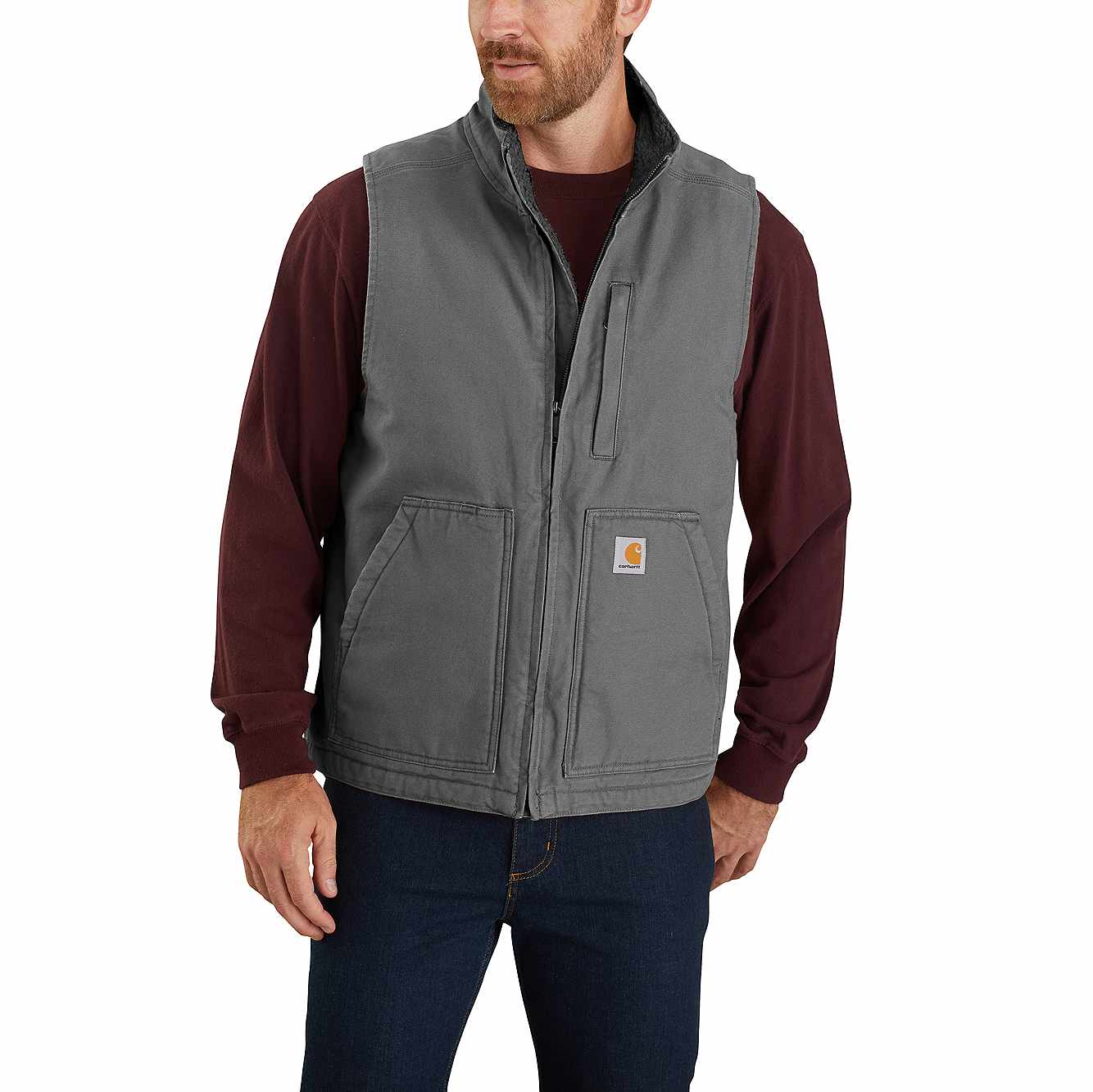 Picture of Carhartt® Sherpa-Lined Mock Neck Vest in Gravel