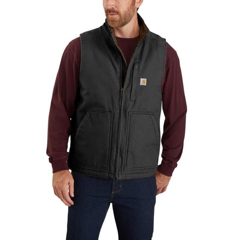Carhartt  Black Loose Fit Washed Duck Sherpa-Lined Mock-Neck Vest