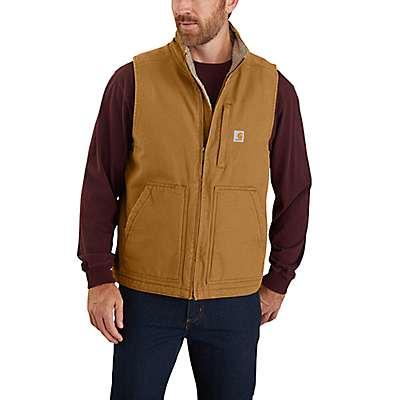Carhartt Men's Carhartt Brown Loose Fit Washed Duck Sherpa-Lined Mock-Neck Vest