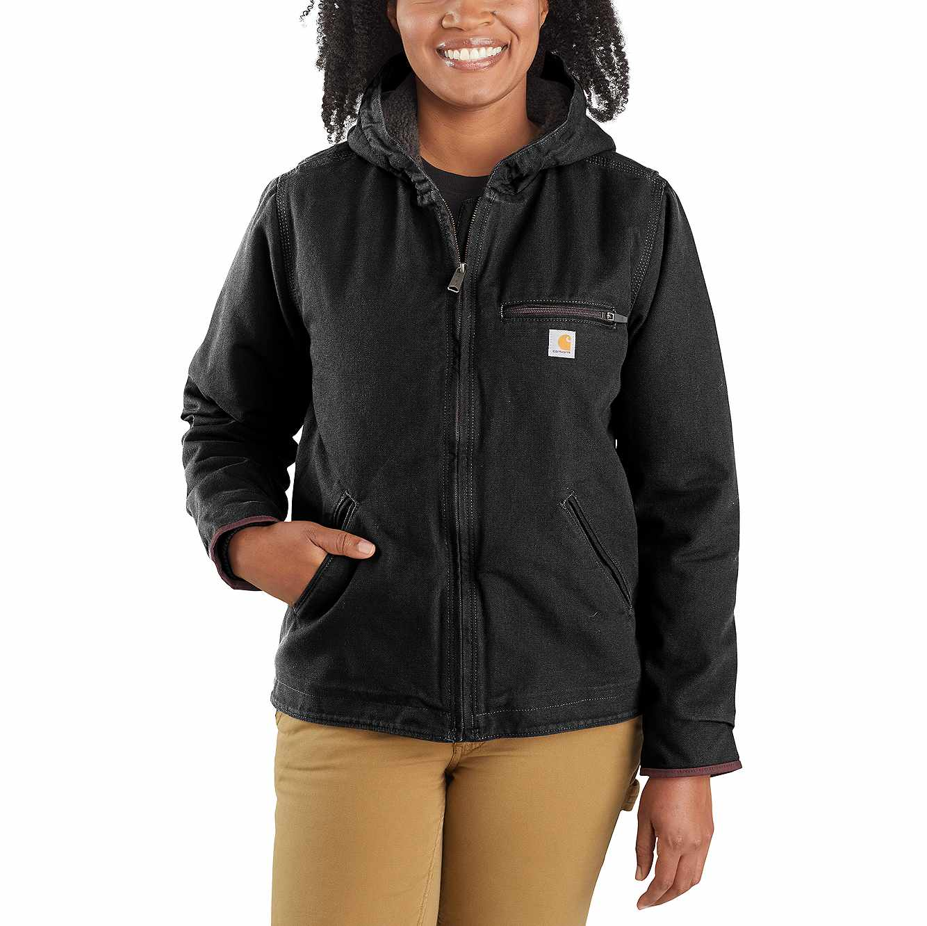 Picture of Women's Washed Duck Sherpa Lined Jacket in Black