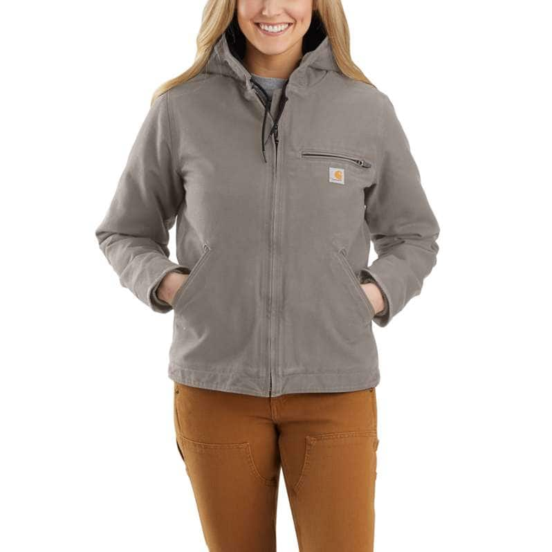 Carhartt  Taupe Gray Women's Loose Fit Washed Duck Sherpa Lined Jacket