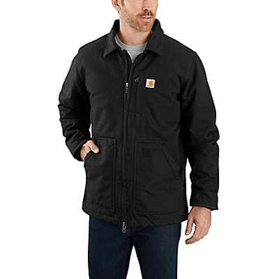 Carhartt Men's Black Loose Fit Washed Duck Sherpa-Lined Coat
