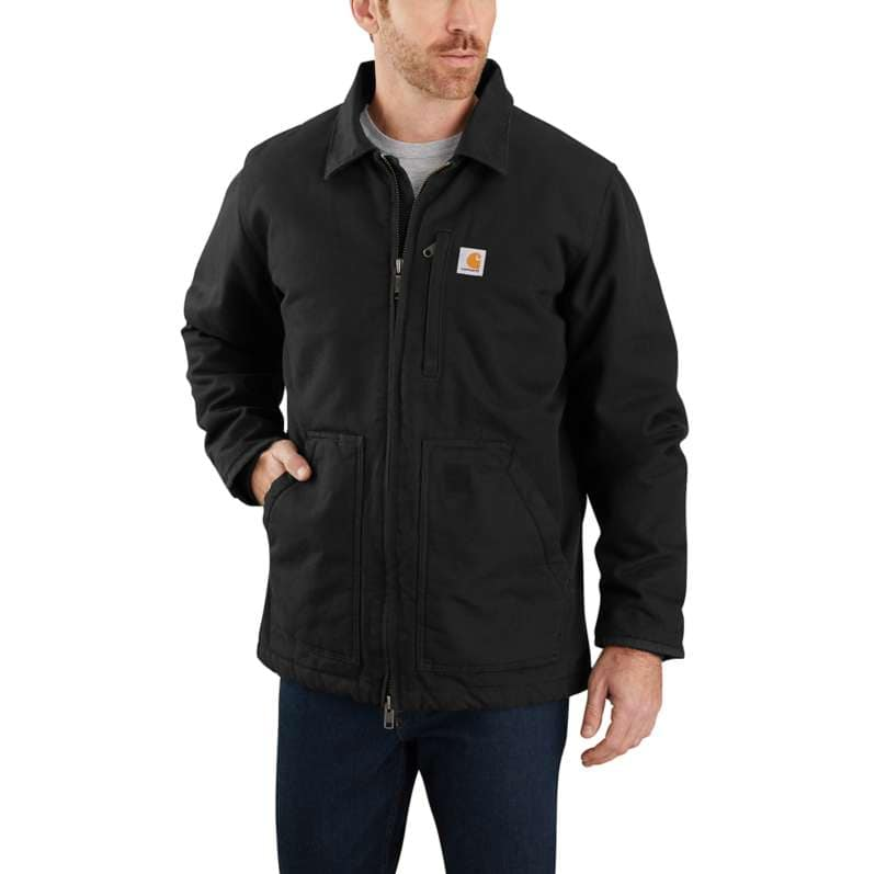 Carhartt  Black Loose Fit Washed Duck Sherpa-Lined Coat