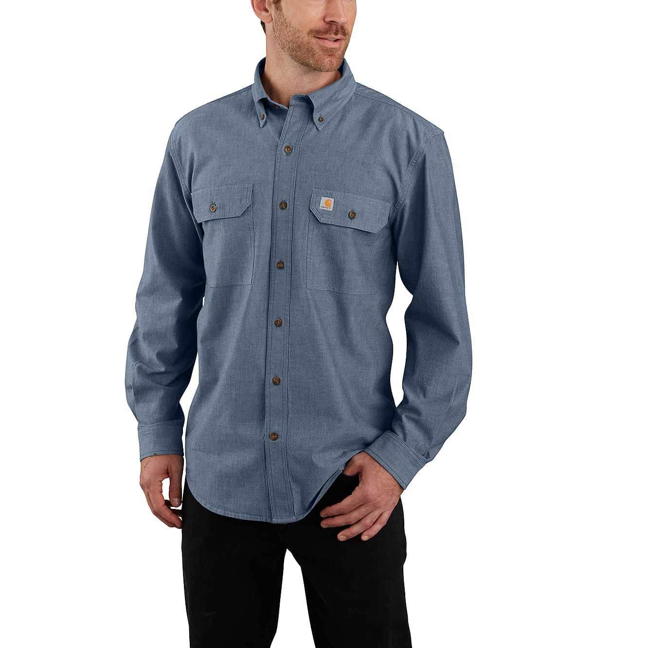 Picture of LOOSE FIT MIDWEIGHT LONG-SLEEVE BUTTON-FRONT SHIRT in Denim Blue Chambray