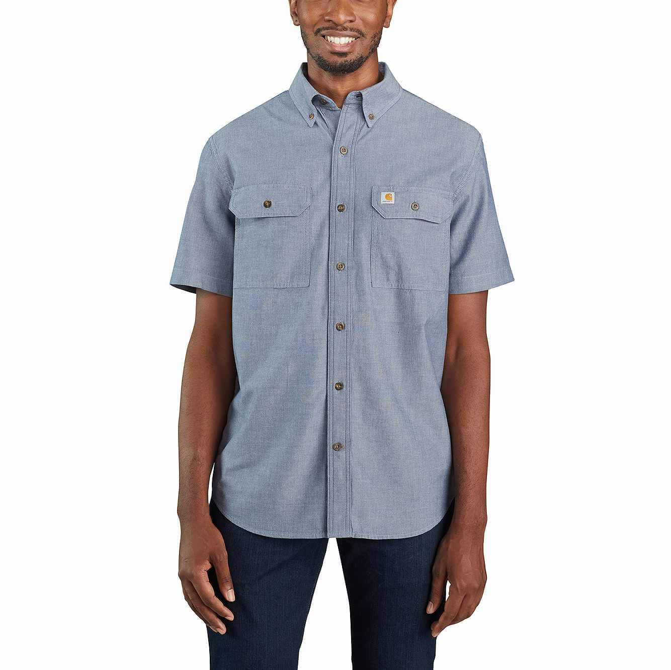 Picture of LOOSE FIT MIDWEIGHT SHORT-SLEEVE BUTTON-FRONT SHIRT in Denim Blue Chambray