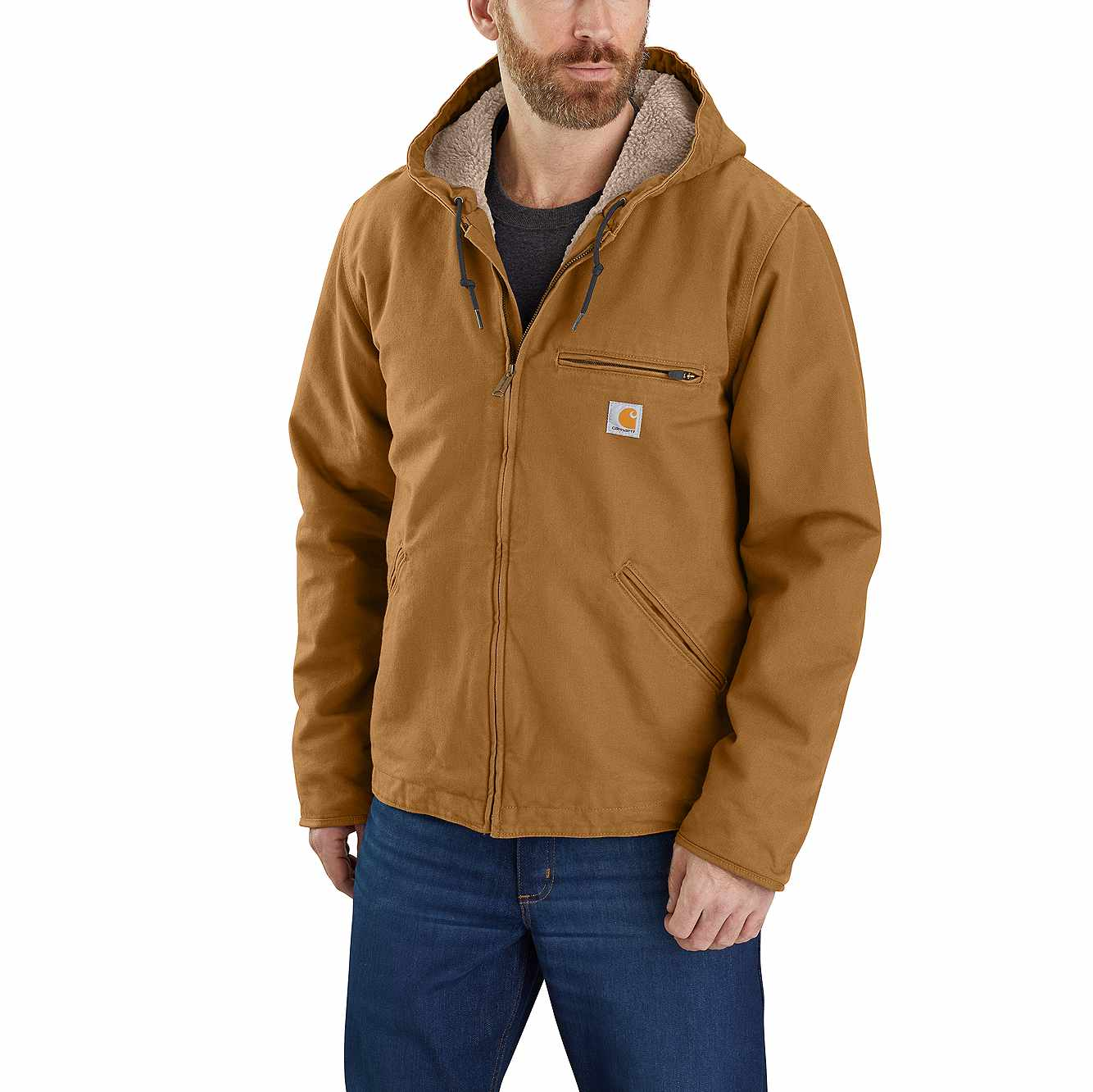 Picture of Carhartt® Washed Duck Sherpa Lined Jacket in Carhartt Brown