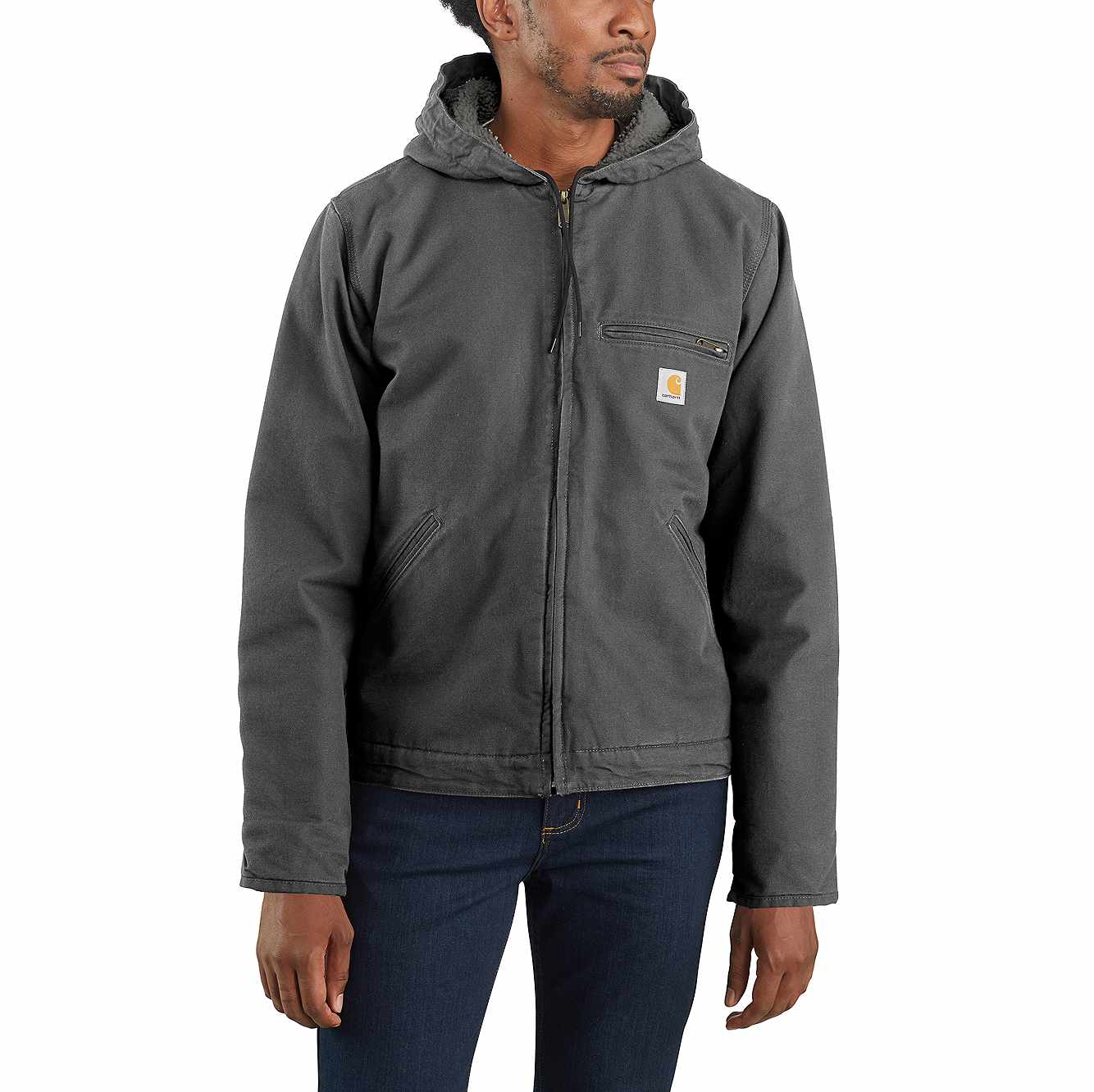 Picture of Carhartt® Washed Duck Sherpa Lined Jacket in Gravel