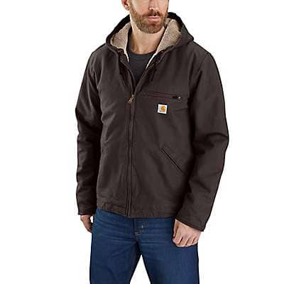 Carhartt Men's Dark Brown Relaxed Fit Washed Duck Sherpa-Lined Jacket