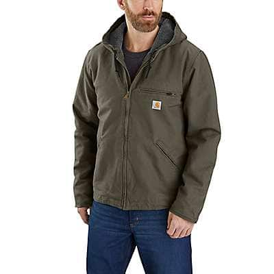 Carhartt Men's Moss Relaxed Fit Washed Duck Sherpa-Lined Jacket