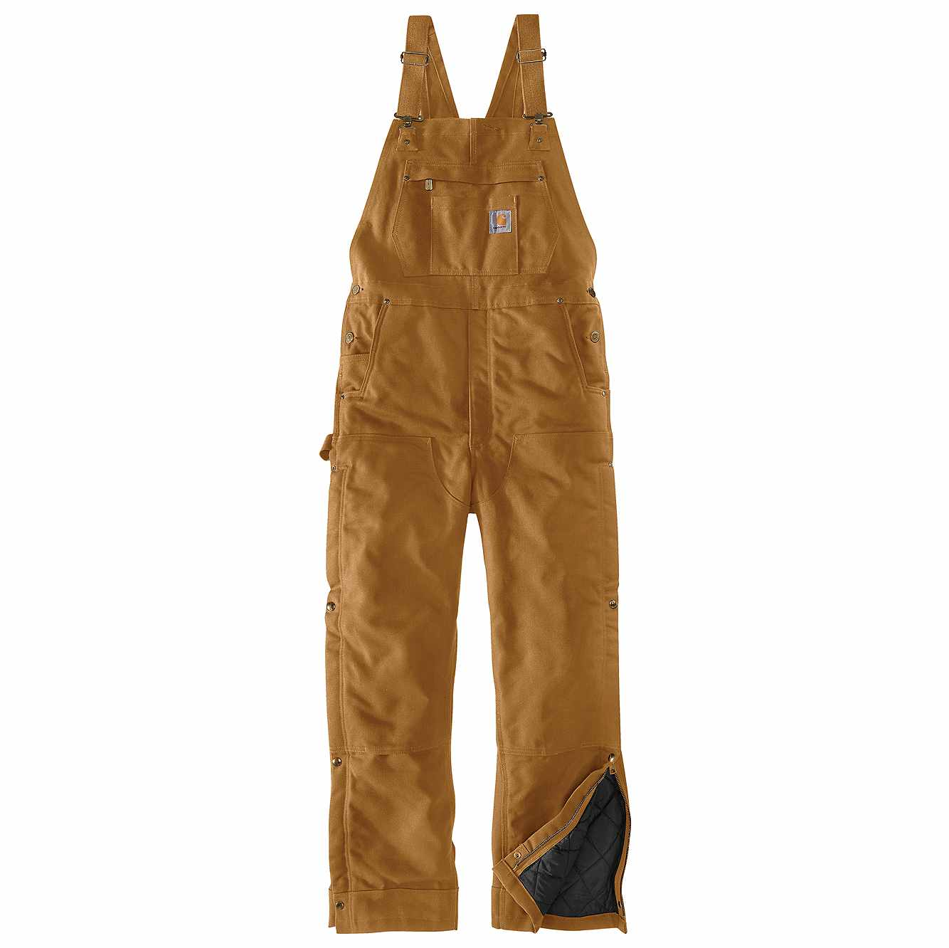 Picture of Loose Fit Firm Duck Insulated Bib Overall in Carhartt Brown