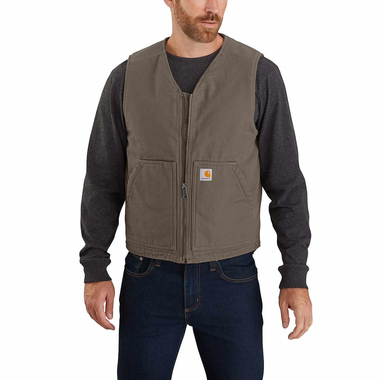 Picture of Washed Duck Sherpa Lined Vest in Driftwood