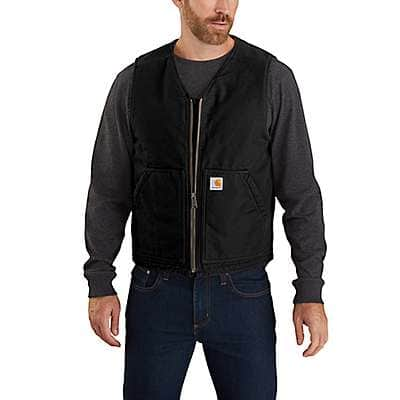 Carhartt Men's Black Relaxed Fit Washed Duck Sherpa-Lined Vest