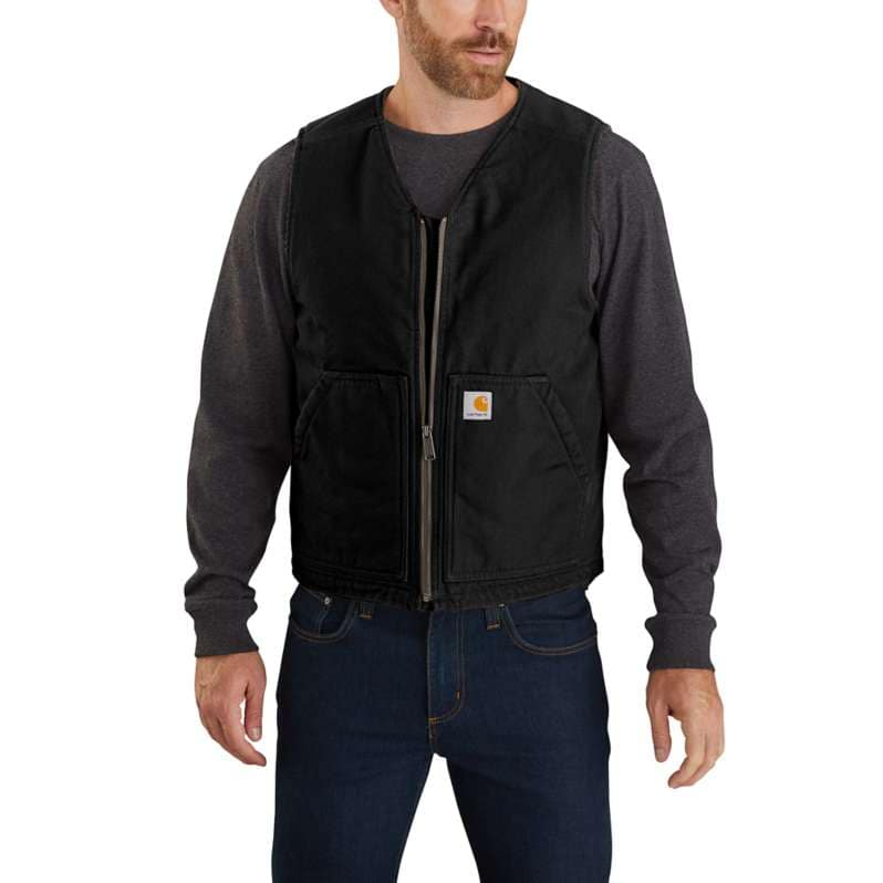 Carhartt  Black Relaxed Fit Washed Duck Sherpa-Lined Vest