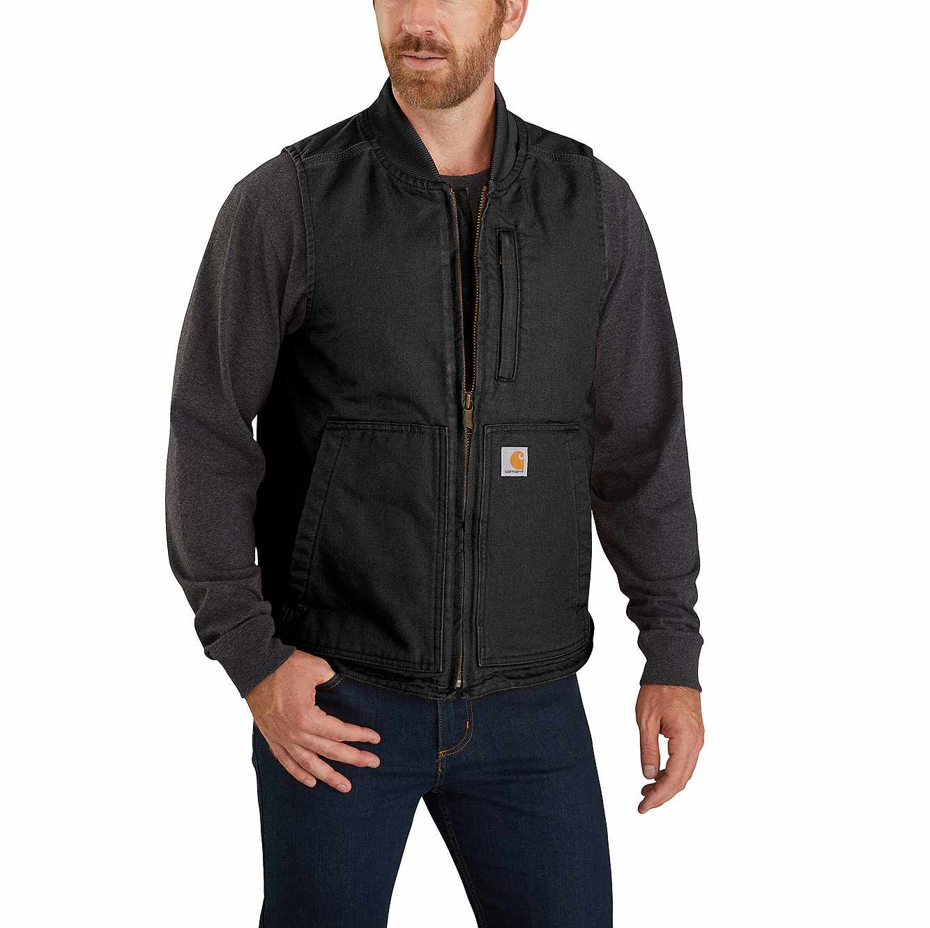 Picture of Carhartt® Washed Duck Insulated Rib Collar Vest in Black
