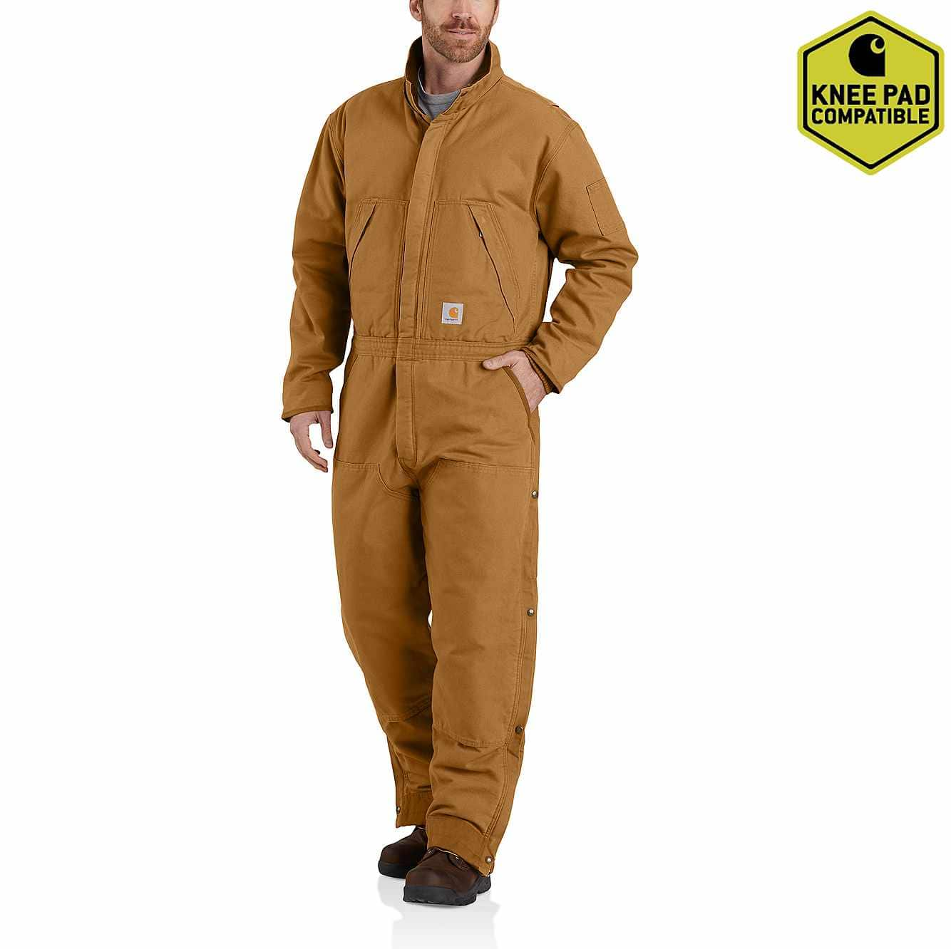 Picture of Carhartt® Washed Duck Insulated Coverall in Carhartt Brown