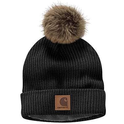 Carhartt Women's Black Knit Fleece-Lined Hat