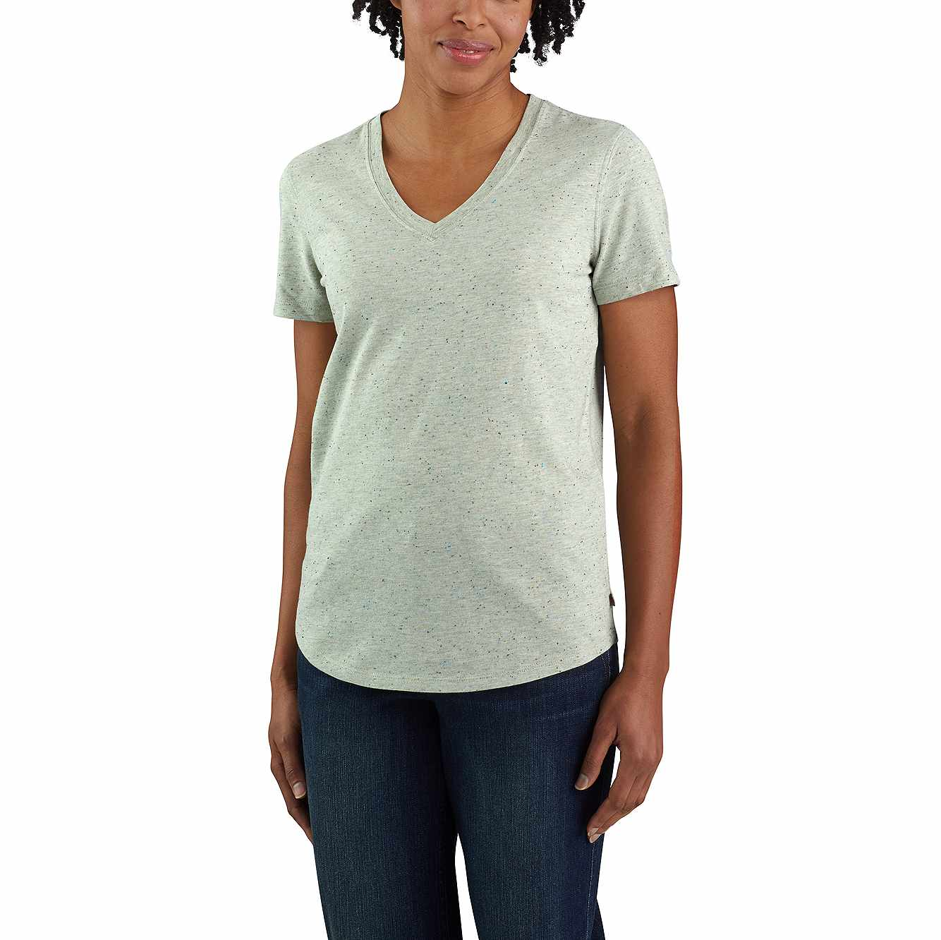 Picture of Carhartt® Relaxed Fit Midweight Short Sleeve V neck T-Shirt in Tinted Sage Heather Nep