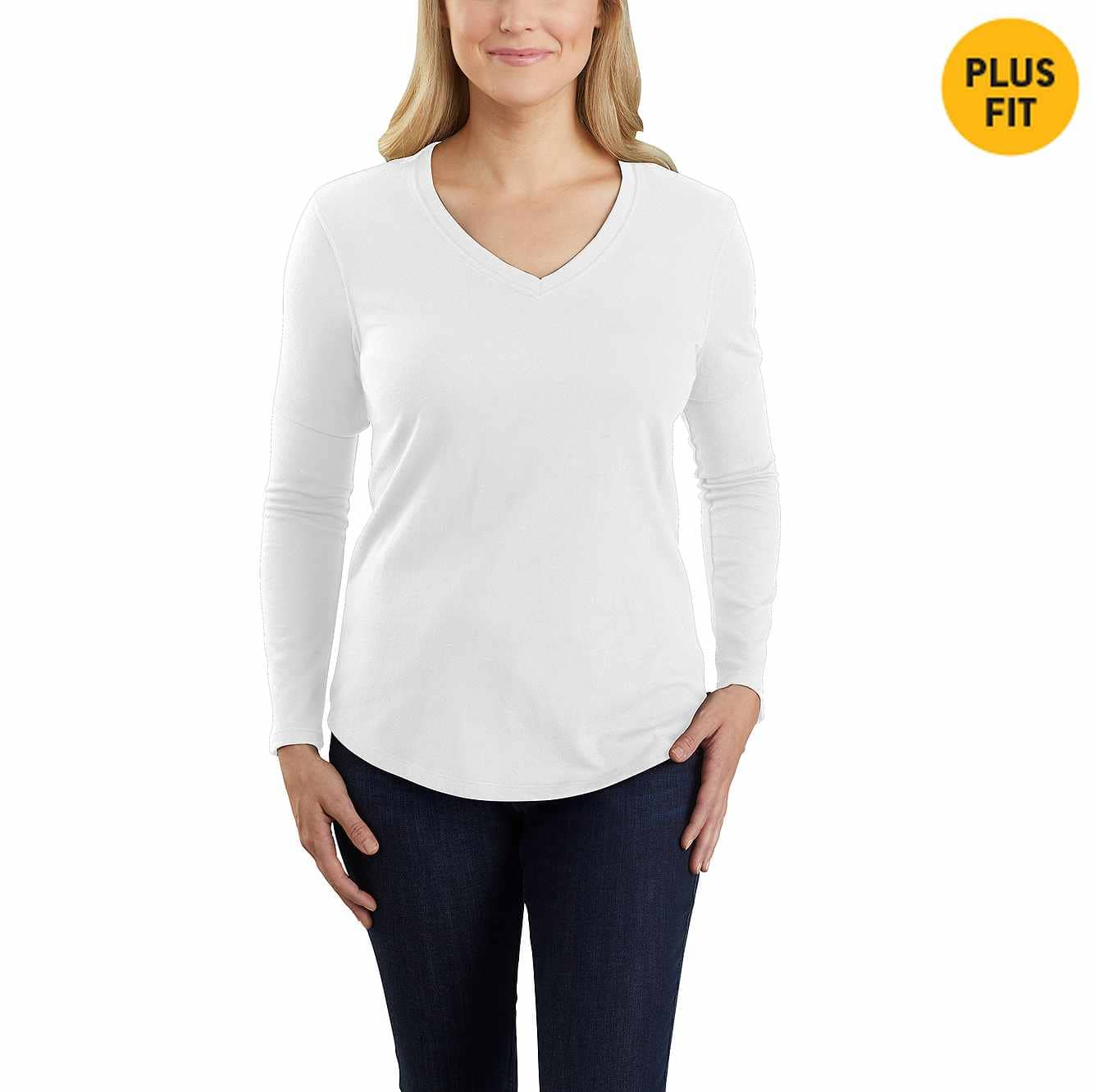 Picture of Carhartt® Relaxed Fit Midweight Long Sleeve V neck T-Shirt in White