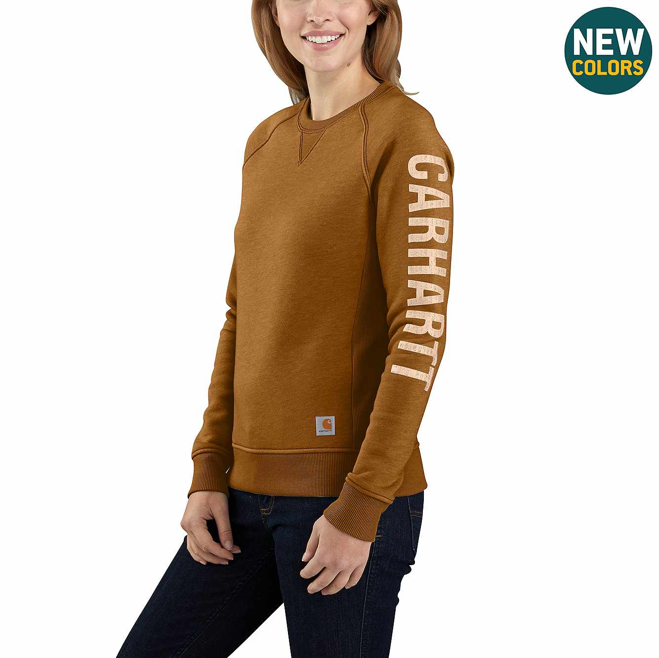 Picture of Carhartt® Relaxed Fit Midweight Crewneck Carhartt Graphic Sweatshirt in Oiled Walnut Heather