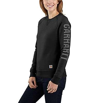 Carhartt Women's Black Relaxed Fit Midweight Crewneck Block Logo Sleeve Graphic Sweatshirt