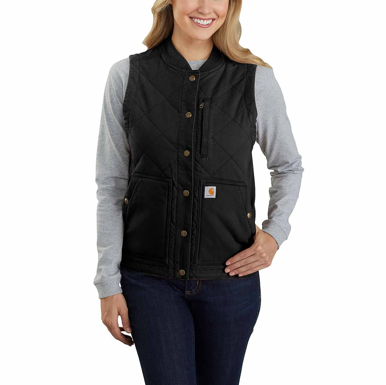 Picture of Carhartt® Rugged Flex® Canvas Insulated Rib Collar Vest in Black