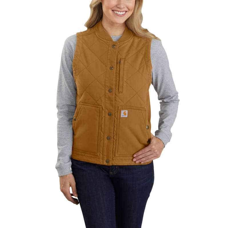 Carhartt  Carhartt Brown Rugged Flex® Relaxed Fit Canvas Insulated Rib Collar Vest