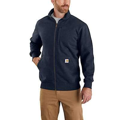 Carhartt Men's Navy Rain Defender® Loose Fit Heavyweight Full-Zip Mock-Neck Sweatshirt