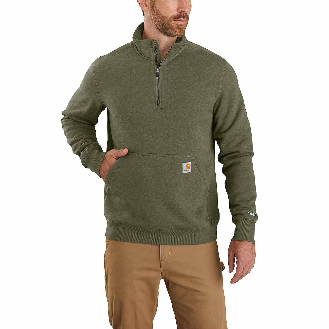 Picture of Carhartt Force® Relaxed Fit Midweight 1/4 Zip Pocket Sweatshirt in Moss Heather
