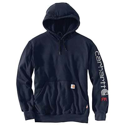Carhartt Men's Navy Flame-Resistant Force Original Fit Midweight Hooded Logo Graphic Sweatshirt