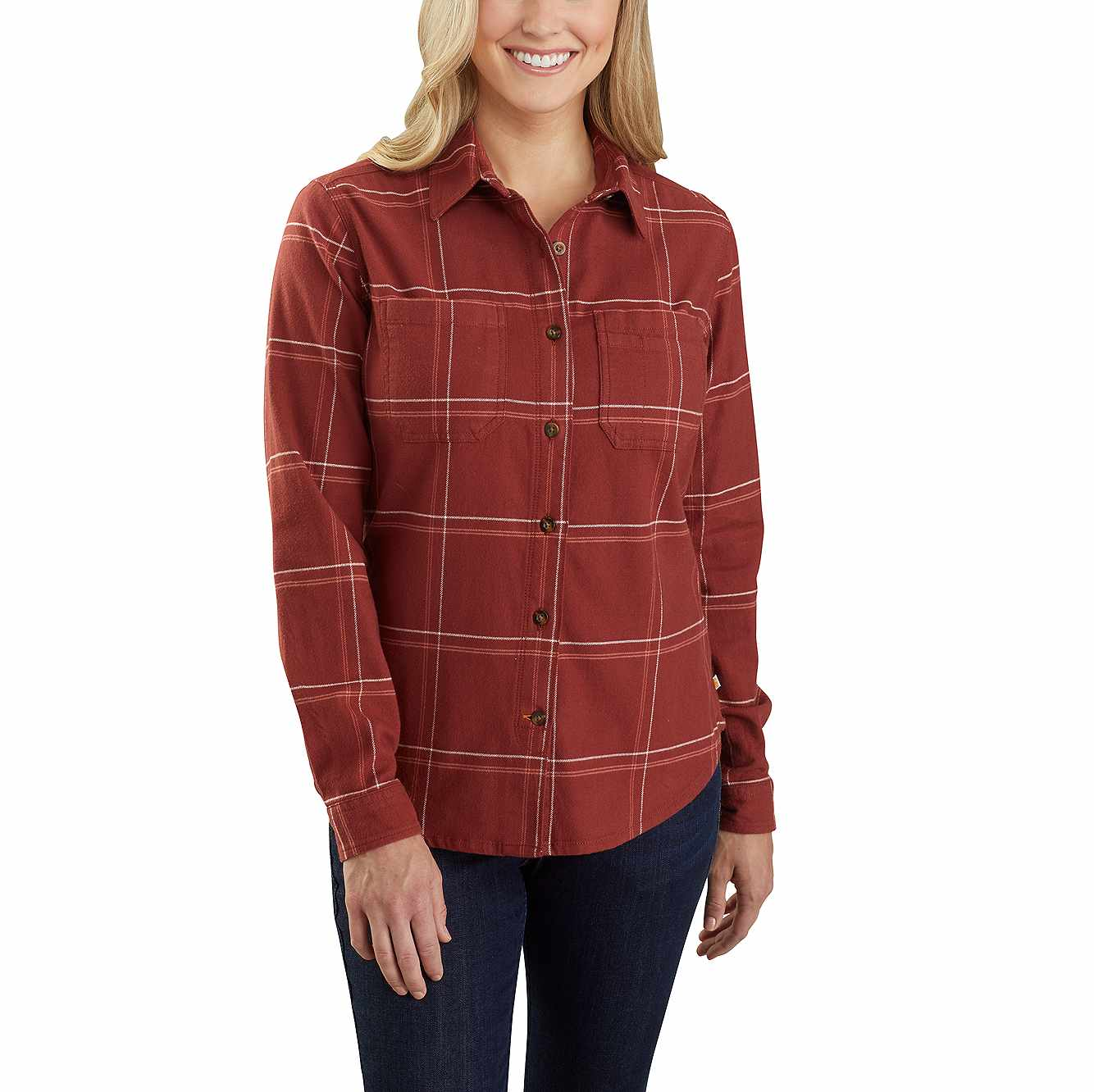 Picture of Carhartt® Rugged Flex® Relaxed Fit Flannel Plaid Shirt in Redwood