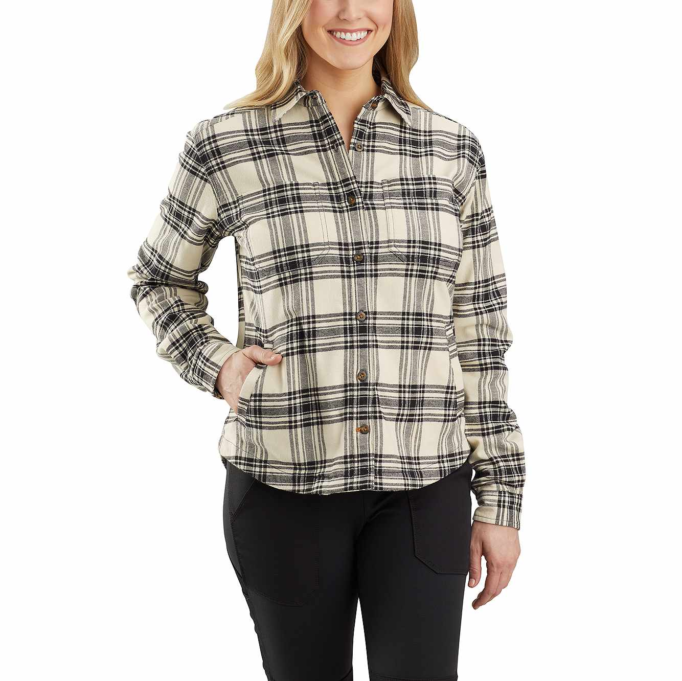Picture of Carhartt® Rugged Flex® Relaxed Fit Flannel Fleece Lined Plaid Shirt in Oyster White