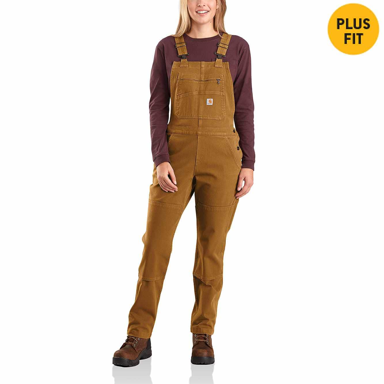 Picture of Rugged Flex Twill Double Front Bib Overall in Carhartt Brown