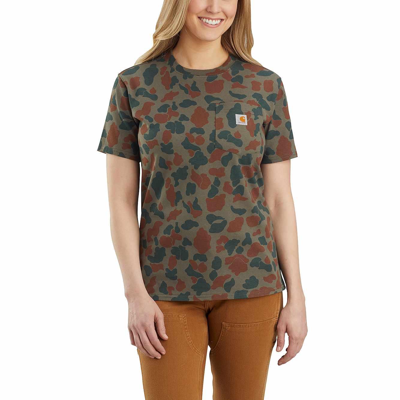 Picture of Carhartt® Original Fit Heavyweight Short Sleeve Pocket Logo Camo T-Shirt in Moss Duck Camo