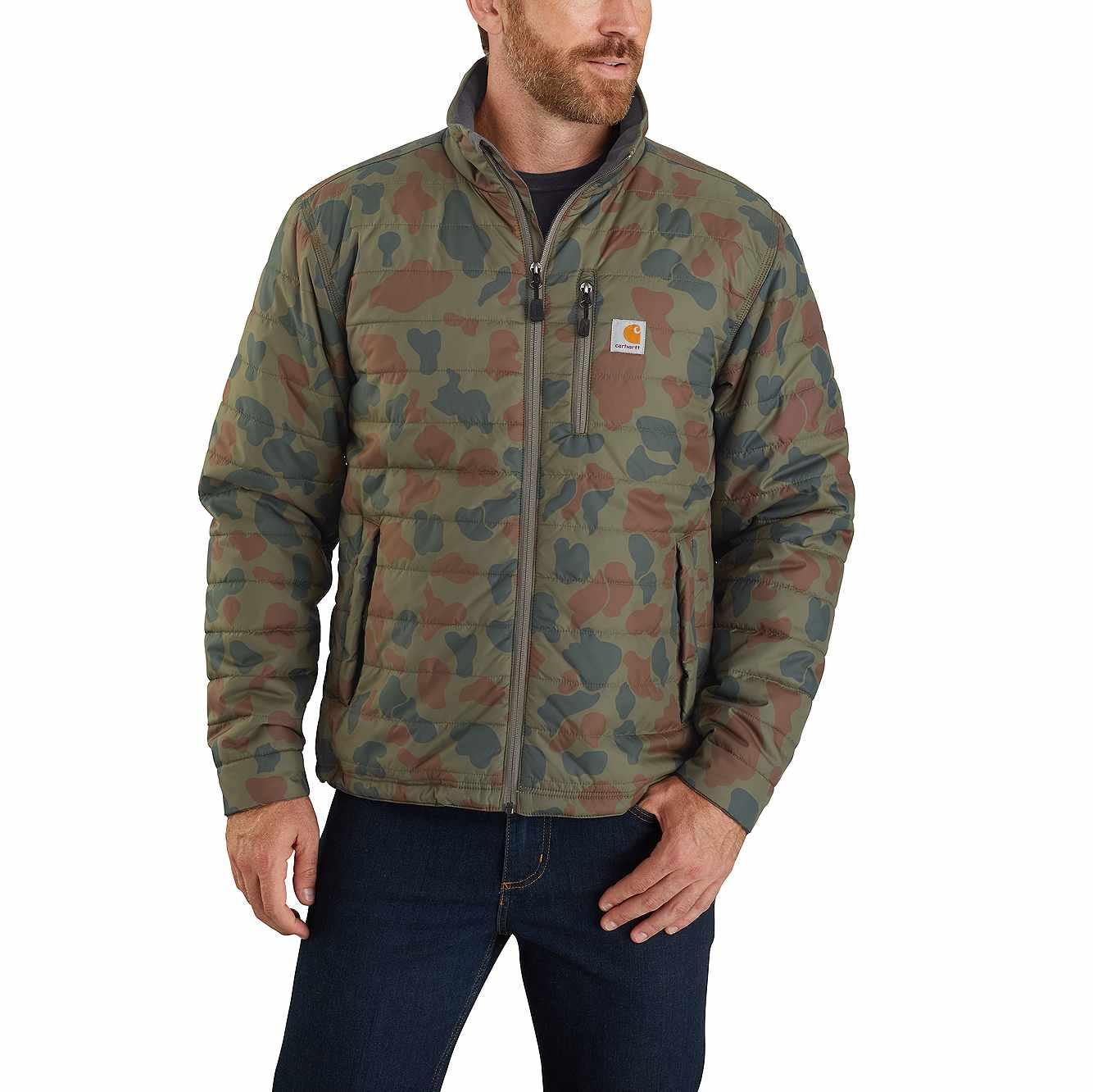 Picture of Carhartt® Rain Defender® Lightweight Insulated Camo Mock Neck Jacket in Moss Duck Camo