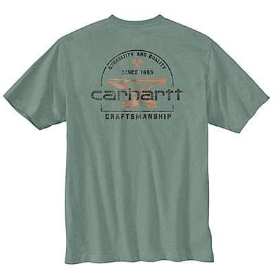 Carhartt Men's Leaf Green Heather Relaxed Fit Heavyweight Short-Sleeve Pocket Anvil Graphic T-Shirt