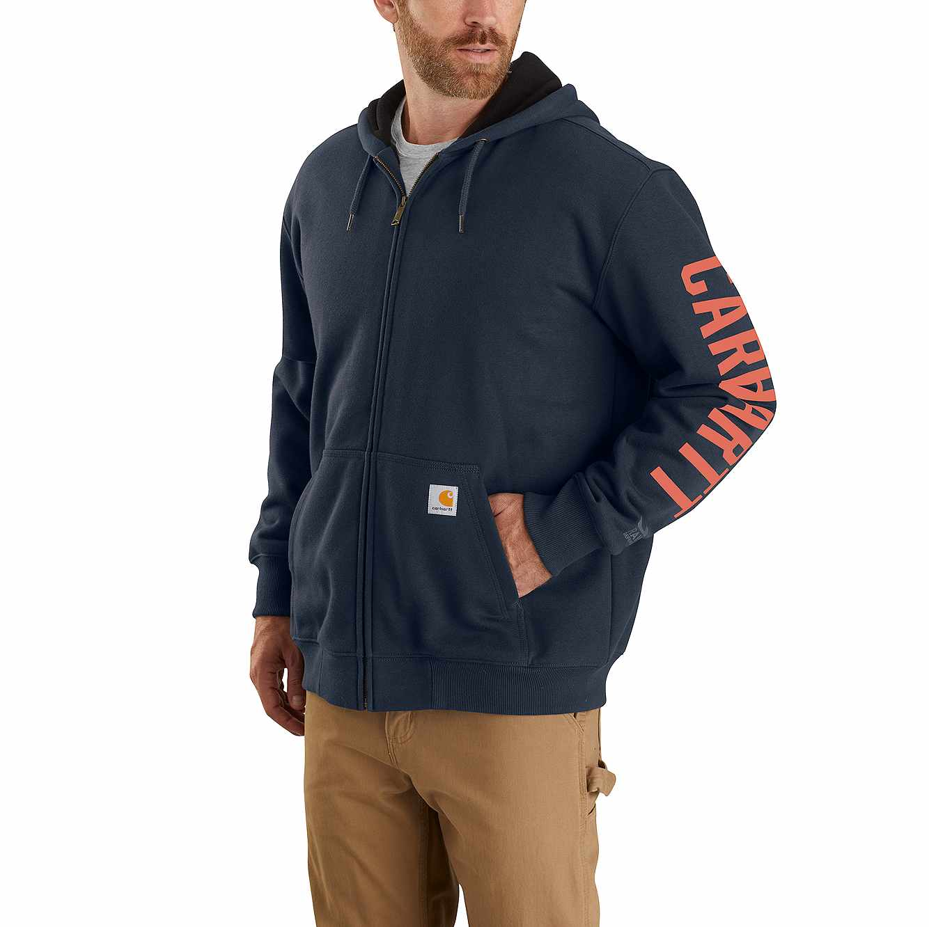 Picture of Rain Defender Original Fit Fleece Lined Logo Graphic Sweatshirt in New Navy