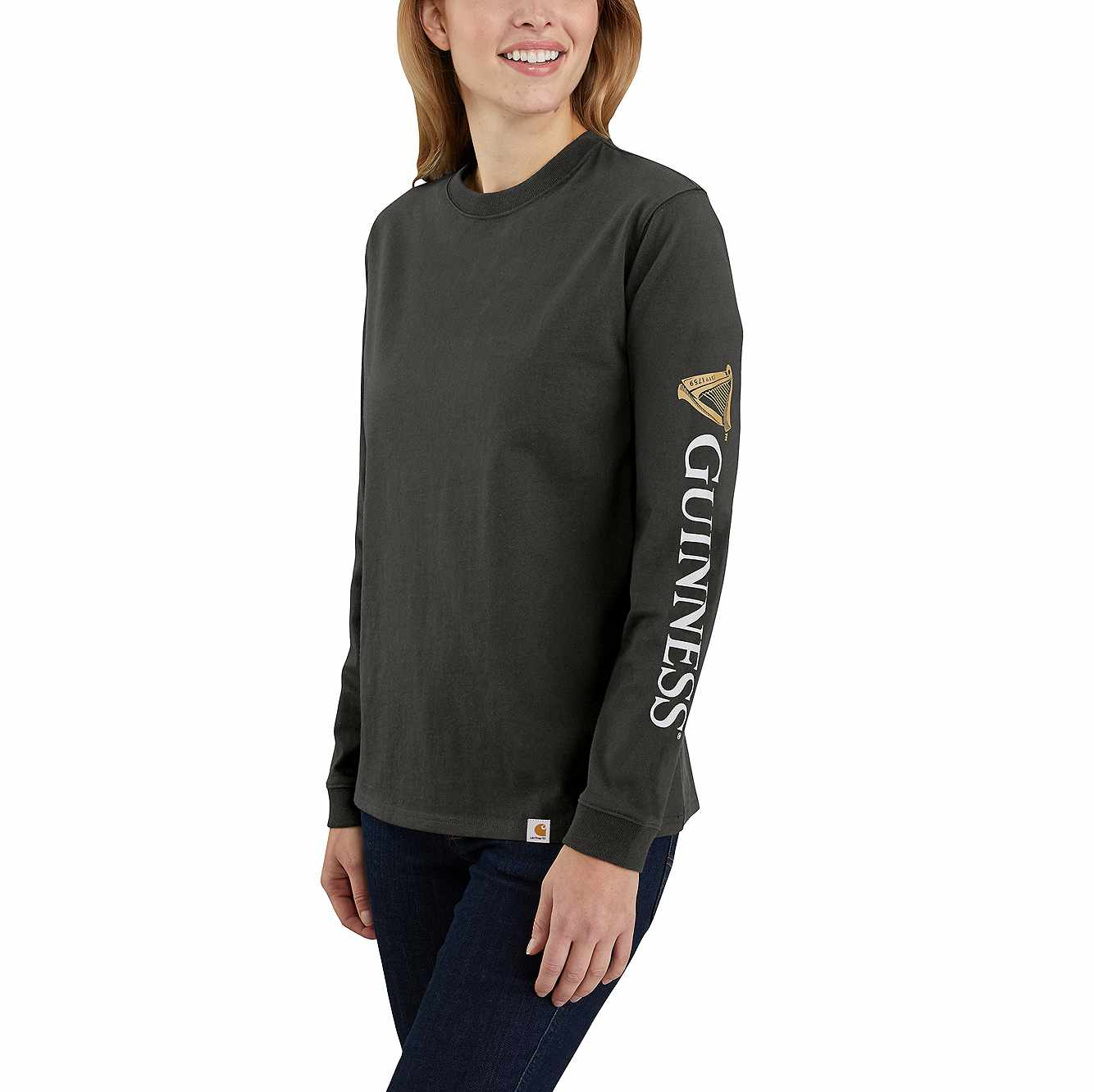 Picture of Women's Original Fit Heavyweight Guinness Graphic Long-Sleeve T-Shirt in Peat