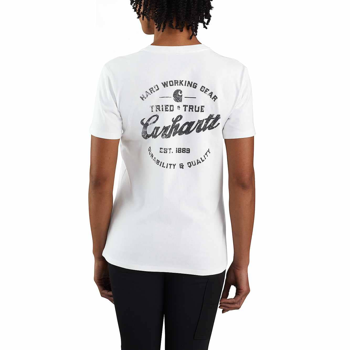 Picture of Loose Fit Heavyweight Short-Sleeve Pocket Tried and True Graphic T-Shirt in White