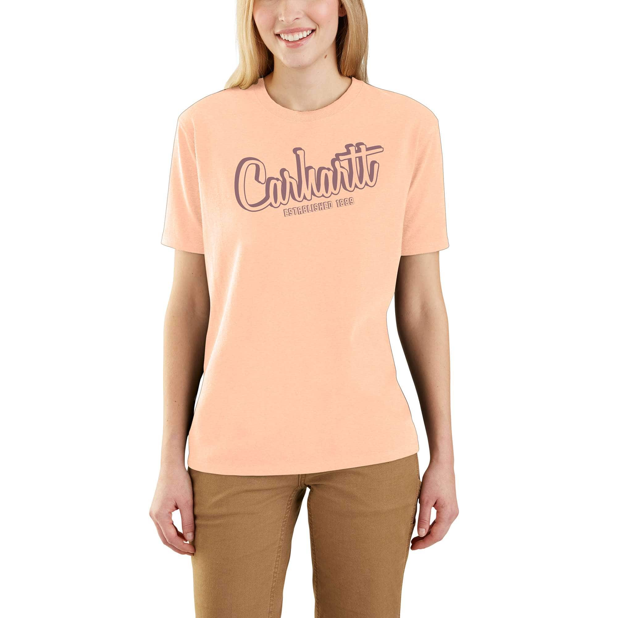 Picture of Loose Fit Heavyweight Short-Sleeve Carhartt Graphic T-Shirt in Cantaloupe Heather
