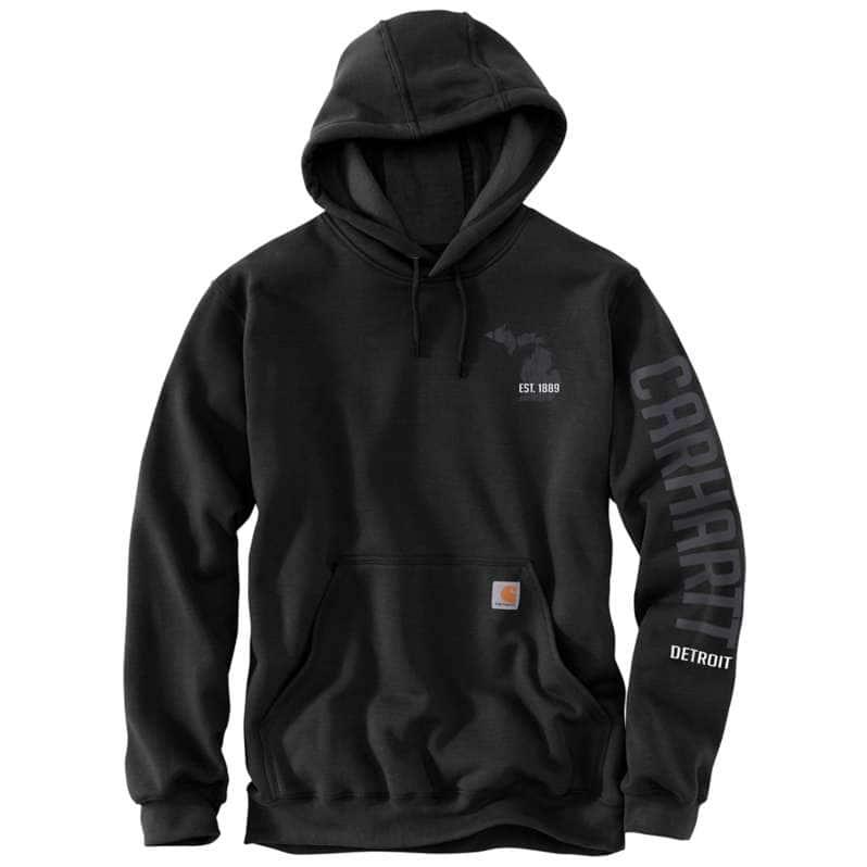 Carhartt  Black Loose Fit Midweight Hooded Detroit Graphic Sweatshirt