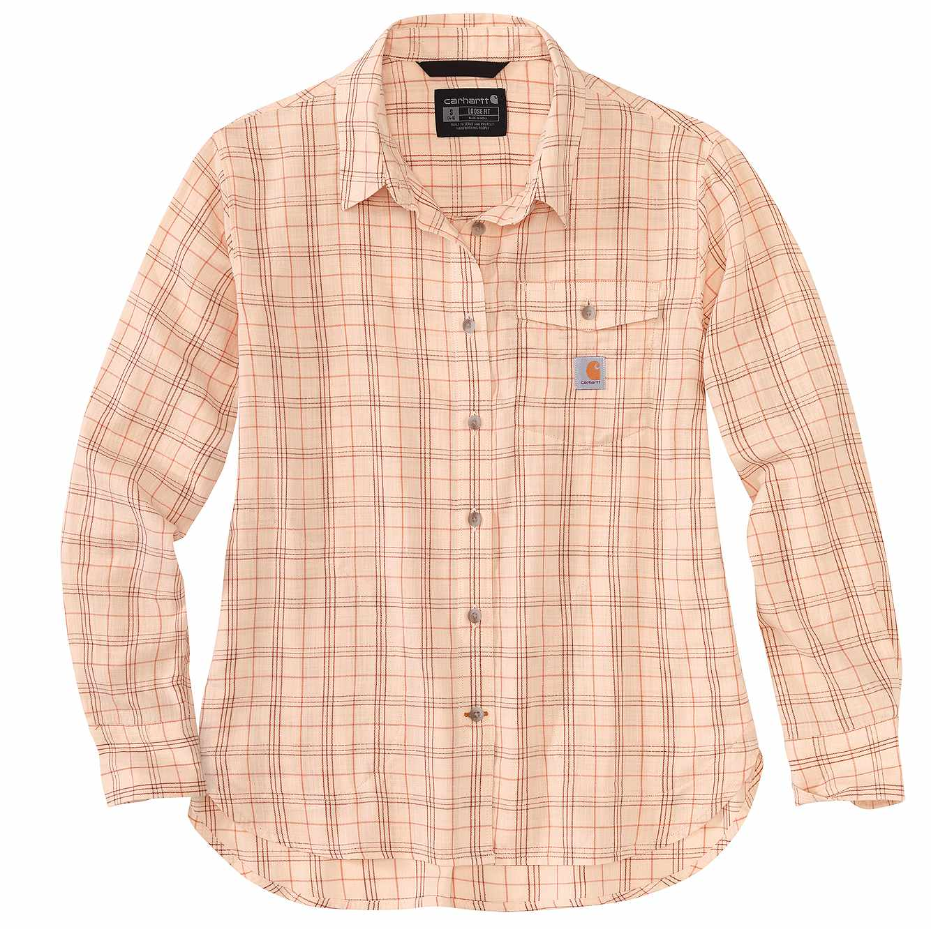 Picture of Loose Fit Lightweight Plaid Shirt in Cantaloupe