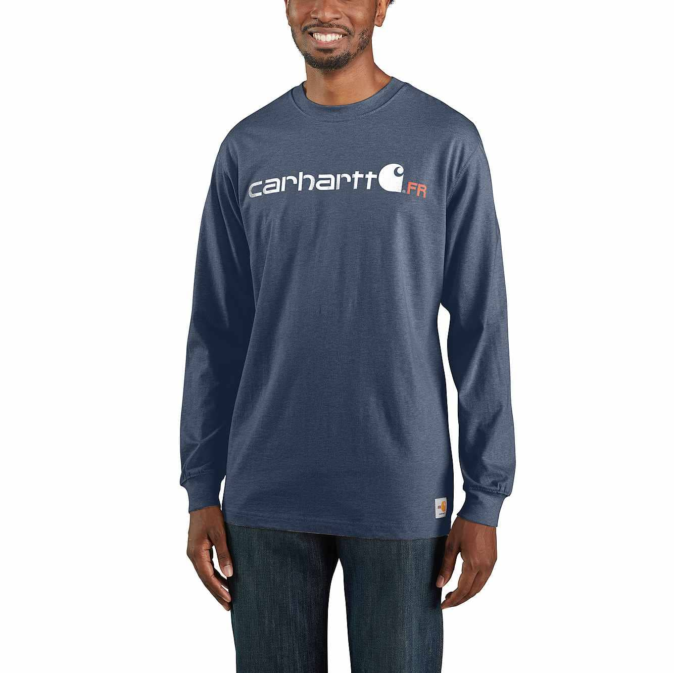 Picture of Flame-Resistant Force Original Fit Midweight Long-Sleeve Logo Graphic T-Shirt in Dark Blue Heather
