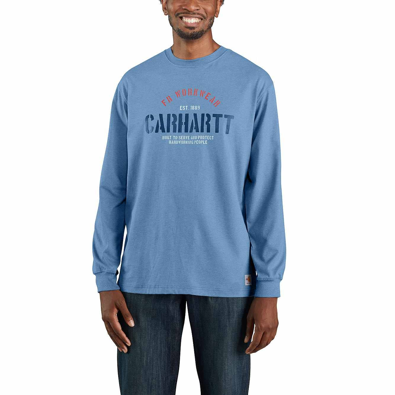 Picture of Flame-Resistant Force Original Fit Midweight Long-Sleeve Workwear Graphic T-Shirt in Coastal Heather