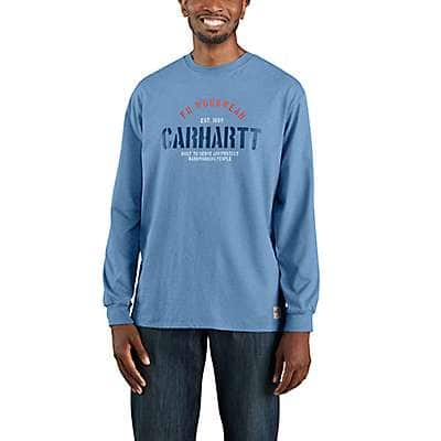 Carhartt Men's Coastal Heather Flame Resistant Force Original Fit Midweight Long-Sleeve Workwear Graphic Tshirt