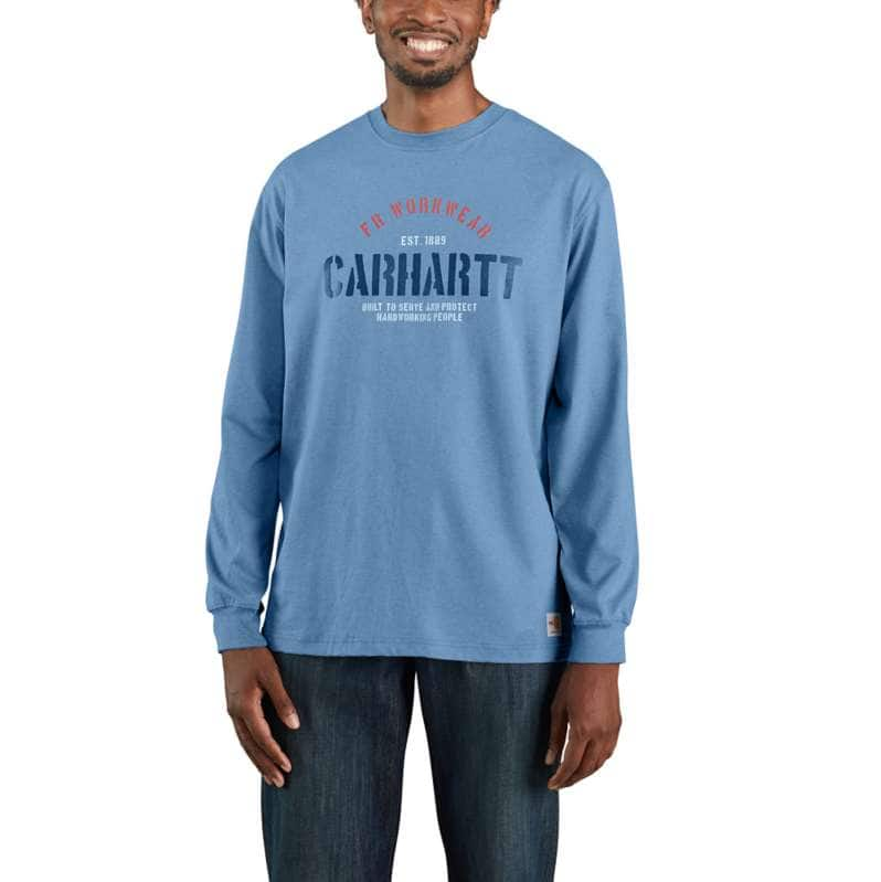 Carhartt  Coastal Heather Flame Resistant Force Original Fit Midweight Long-Sleeve Workwear Graphic Tshirt
